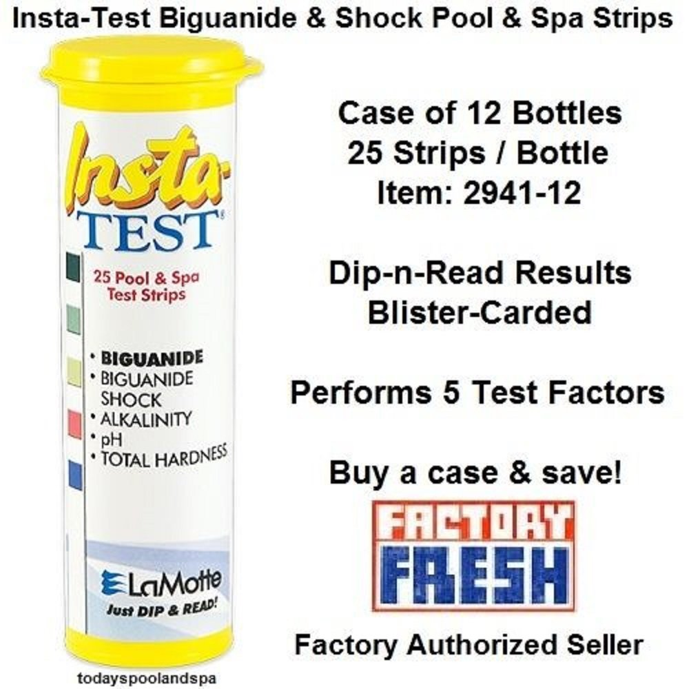 LaMotte Insta-Test Biguanide & Biguanide Shock Test Strips, pkg of 25 Strips - cs of 12 by LaMotte
