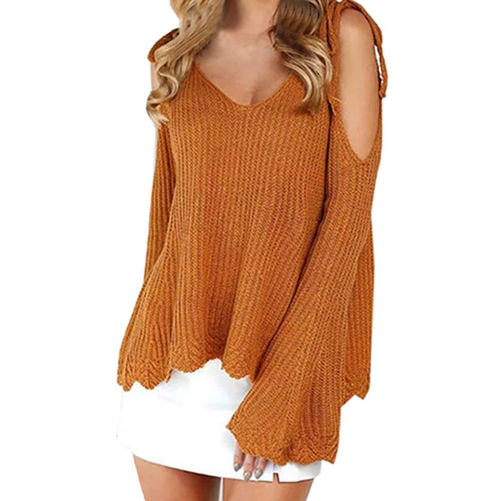 KaiCran New Women Cold Shoulder Sweater Long Sleeve Solid Knitted Bandage Fashion Sweater Tops,Free Size (Khaki, Free Size)