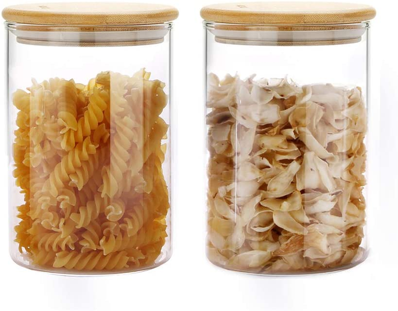MIOCARO Glass Food Storage Containers Jar Seal Bamboo Lids 2 Packs 1000ml Airtight Canister Organization Sets Stackable