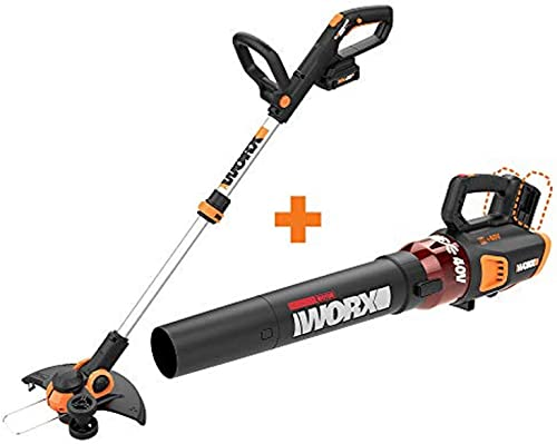 WORX WG163 GT 3.0 20V PowerShare 12 Cordless String Trimmer Edger with Power Share Turbine Cordless Leaf Blower with Brushless Motor 2x20V
