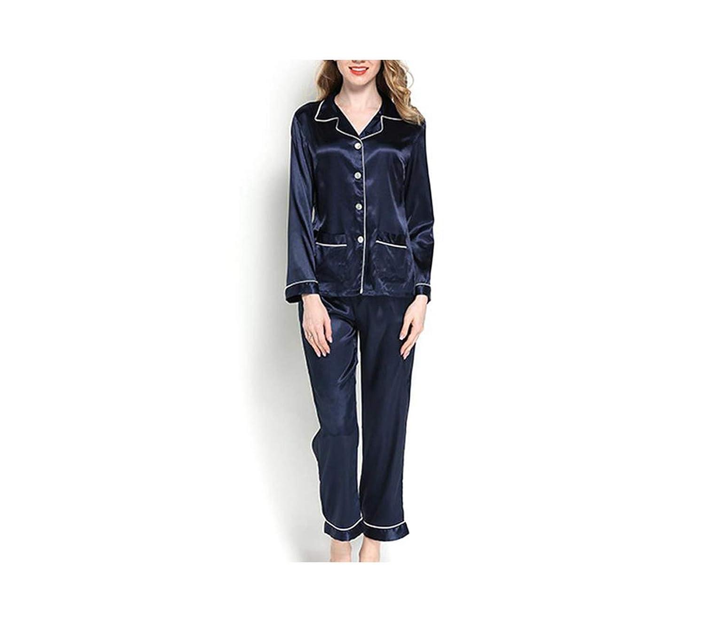 Navy Nelliewins Women Satin Pajama Set Vintage Bridesmaids  Bridesmaids Button Front Nightgown Bridal Gifts 2Pcs