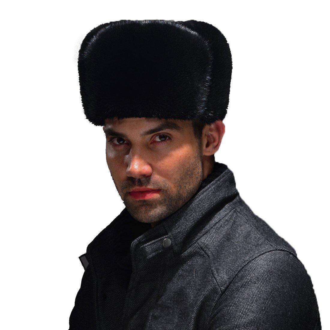 URSFUR Men's Premium Mink Fur Russian Ushanka Trapper Hats ( Black) by URSFUR