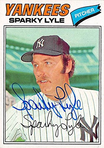 Autograph Warehouse 344379 Sparky Lyle Autographed Baseball Card - New York Yankees 1977 Topps No. 10 Burger King