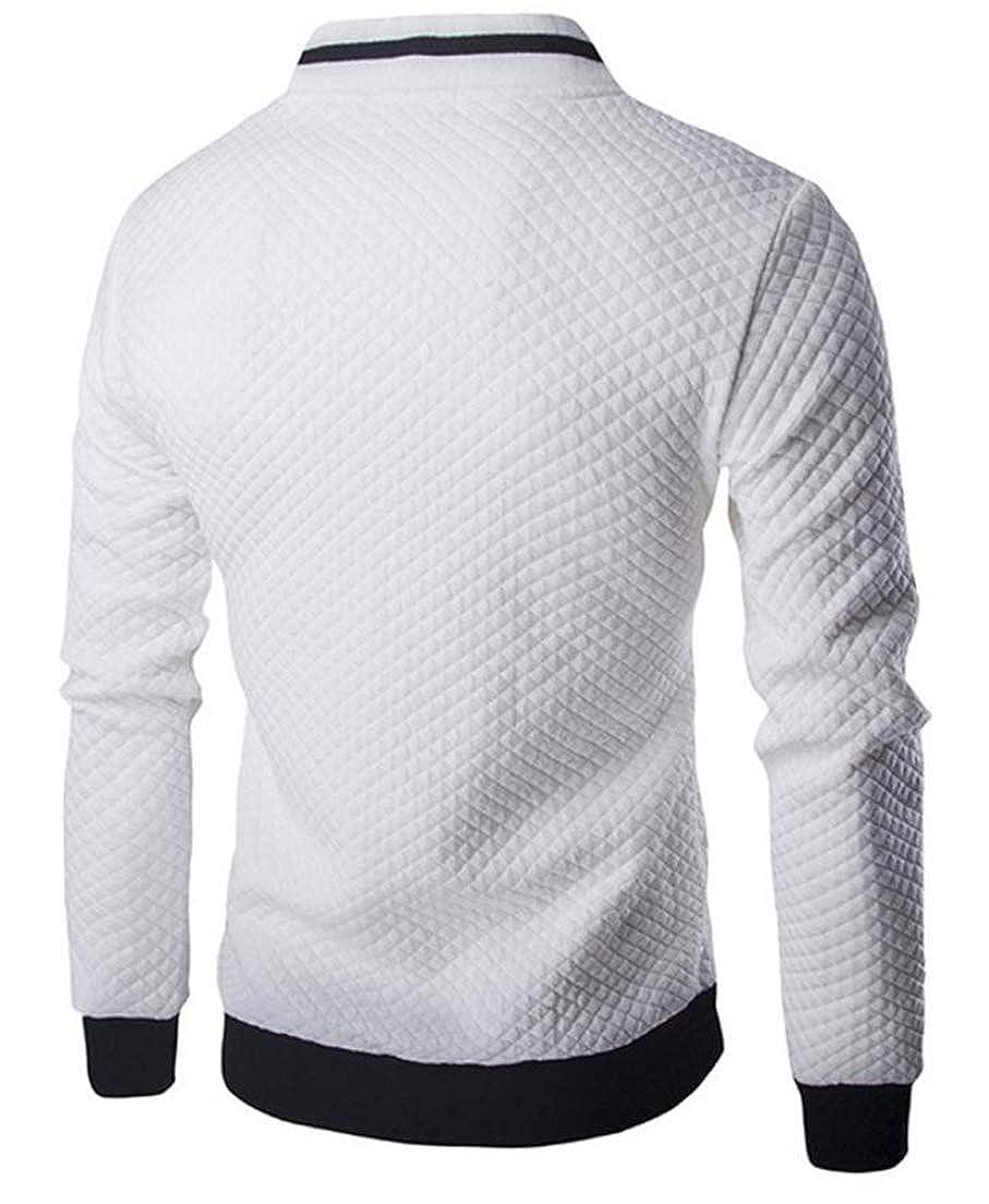 Wofupowga Mens Vogue Tops Full-Up Coat Long Sleeve Sweatshirt Baseball Jacket