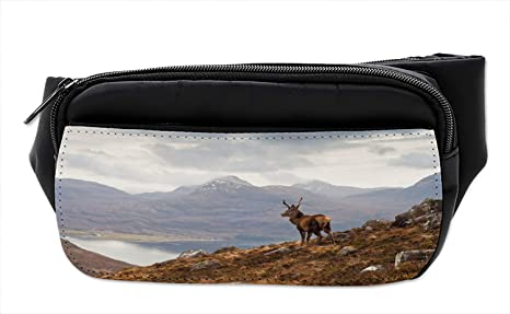 7d9a82ed140d Amazon.com | Ambesonne Deer Bumbag, Western Ross Mountain View ...
