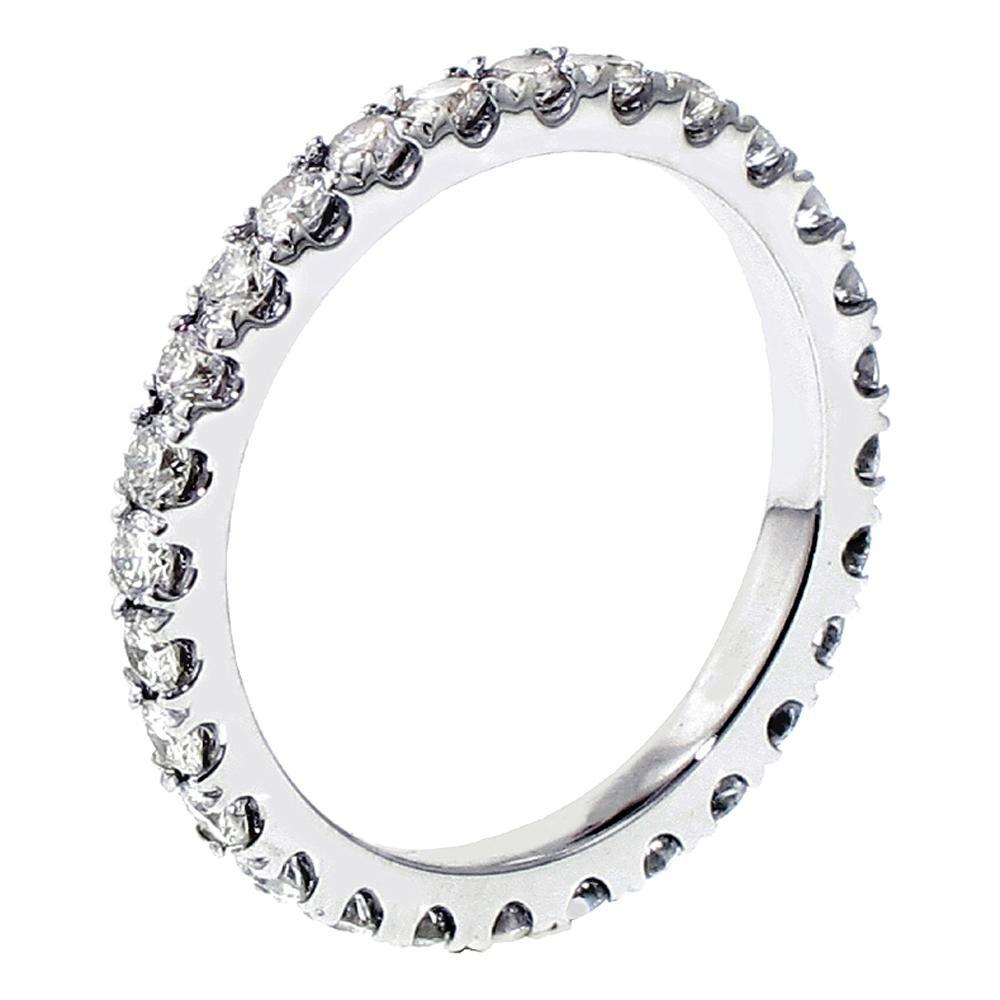 1.15 CT TW Pave Set Diamond Eternity Anniversary Wedding Band in Platinum - Size 7