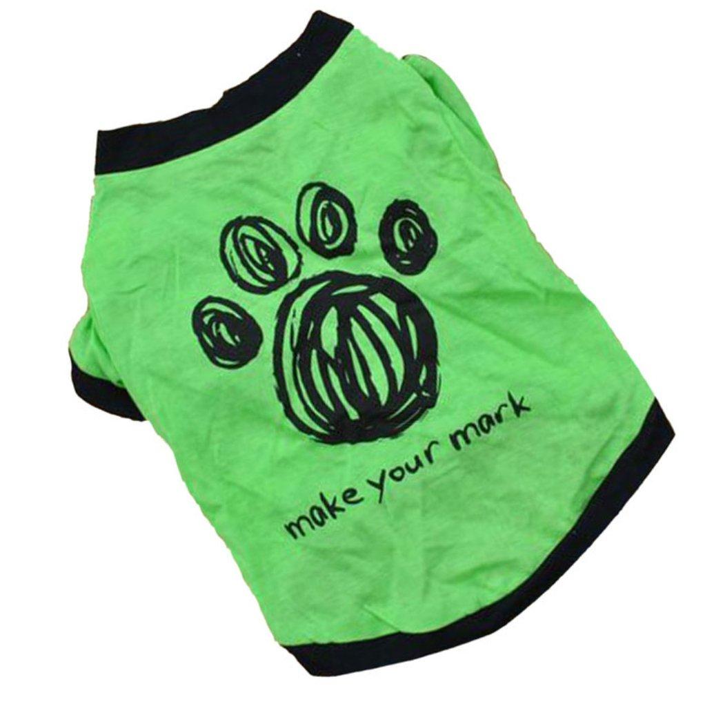 Familizo New Cute Dog Pet Cat Spring Or Summer Pet T-Shirt Clothes (S, Green)