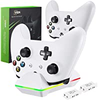 Xbox One Controller Charger, CVIDA Dual Xbox One/One S/One Elite Controller Charging / Docking Station with 2 x 800 mAh Rechargeable Battery Packs — White