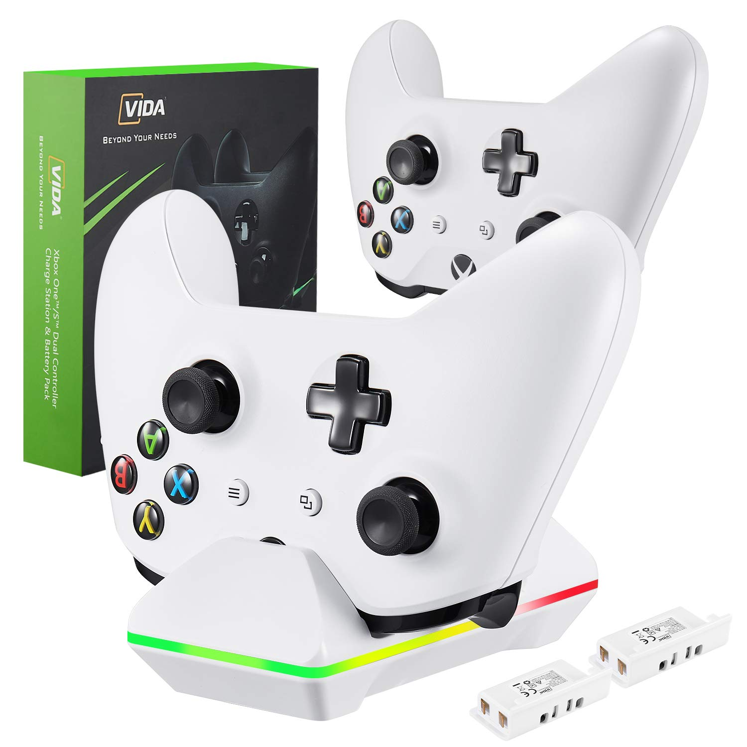 Xbox One Controller Charger, CVIDA Dual Xbox One/One S/One Elite Charging Station with 2 x 800mAh Rechargeable Battery Packs for Two Wireless Controllers Charge Kit- White by CVIDA (Image #7)