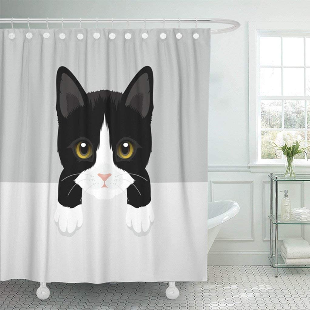 Amazon Com Abaysto Black Animal Cat Tuxedo Kitty White Baby Beautiful Bow Character Cute Domestic Funny Bathroom Decor Shower Curtain Sets With Hooks Polyester Fabric Great Gift Home Kitchen