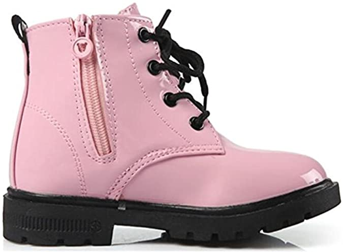 DADAWEN Boy's Girl's Waterproof Lace-Up Boots Rose 36 wxUUl1XH