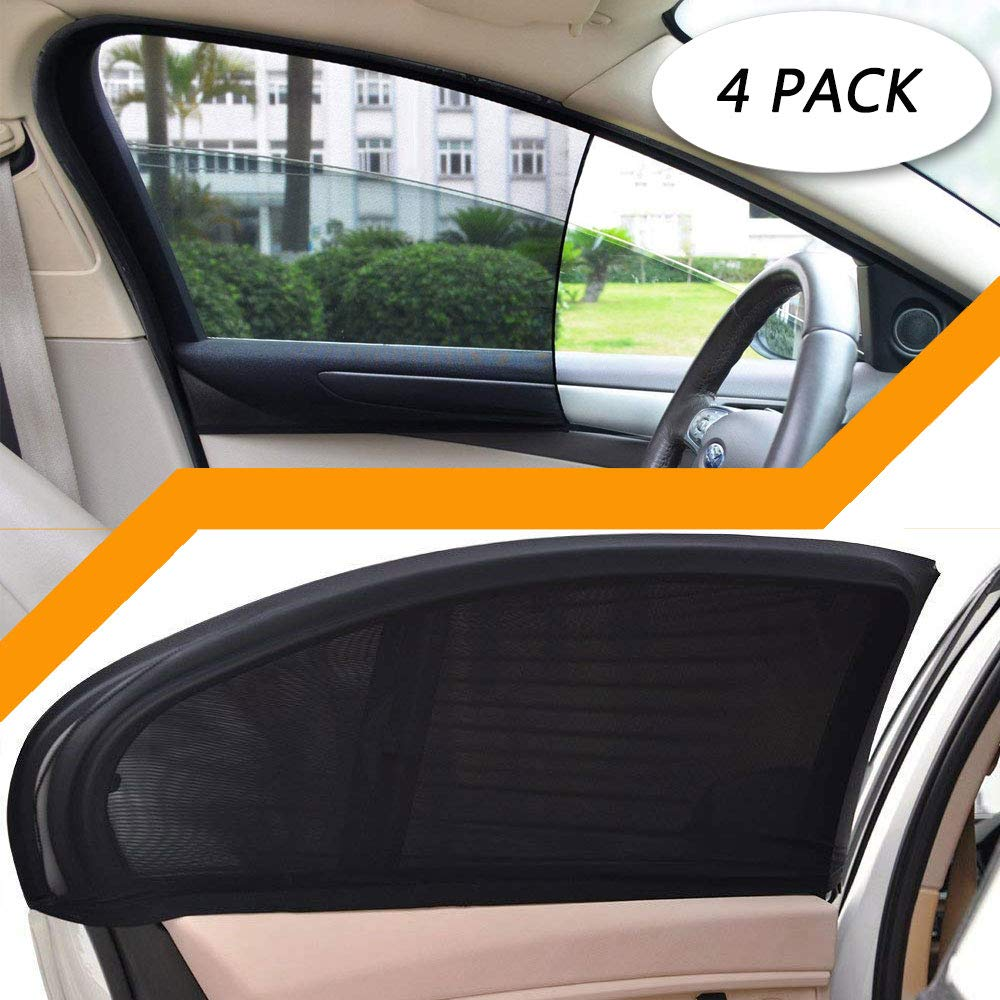 4 Pack Car Side Window Sun Shade Car Side Rear Sun Shade with UV Rays Protection Car Sun Shade Blocking Car Mosquito Net for Baby 2 Pack for Front Window and 2 Pack for Back Fit Most of Vehicle