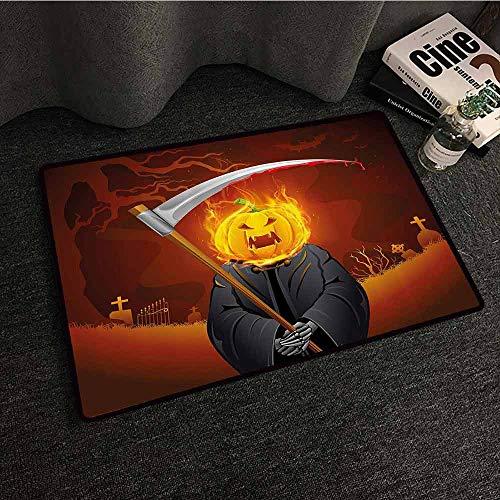 Halloween Decorations Interesting Doormat Pumpkin Grim Head Burning Flames Character Scary Creature Nightmare All Season General W20 xL31 Orange Grey]()