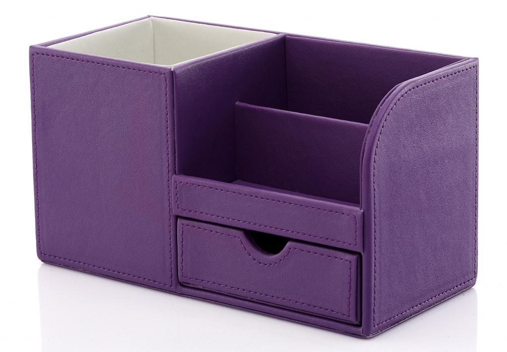 KINGFOM™ 4 Compartiments Multi-fonctionnels Organisateur de Bureau en pu cuir