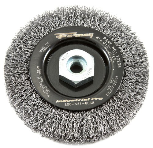 Forney 72235 Wire Wheel Brush, Industrial Pro Crimped with Dual Arbor M10 by 1.25/1.50, 4-Inch-by-.012-Inch