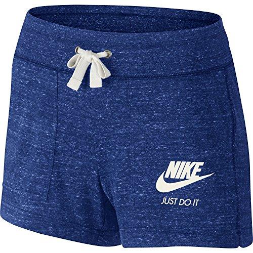 Nike Womens Gym Vintage Shorts Deep Royal Blue/Sail 726063-455 Size Medium