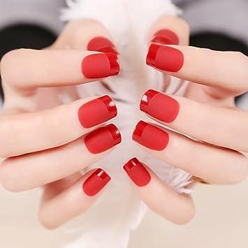 Amazon Yunai 24 Pcs False Nails French Manicure Matte Full