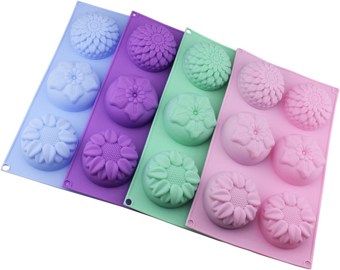Silikon-Blumen-Kuchenformen mit 4 Mulden Schokolade Cupcakes f/ür Fondant-Formen 6 Packungen Eisw/ürfelformen f/ür selbstgemachte Kuchen Violett // Gr/ün // Pink