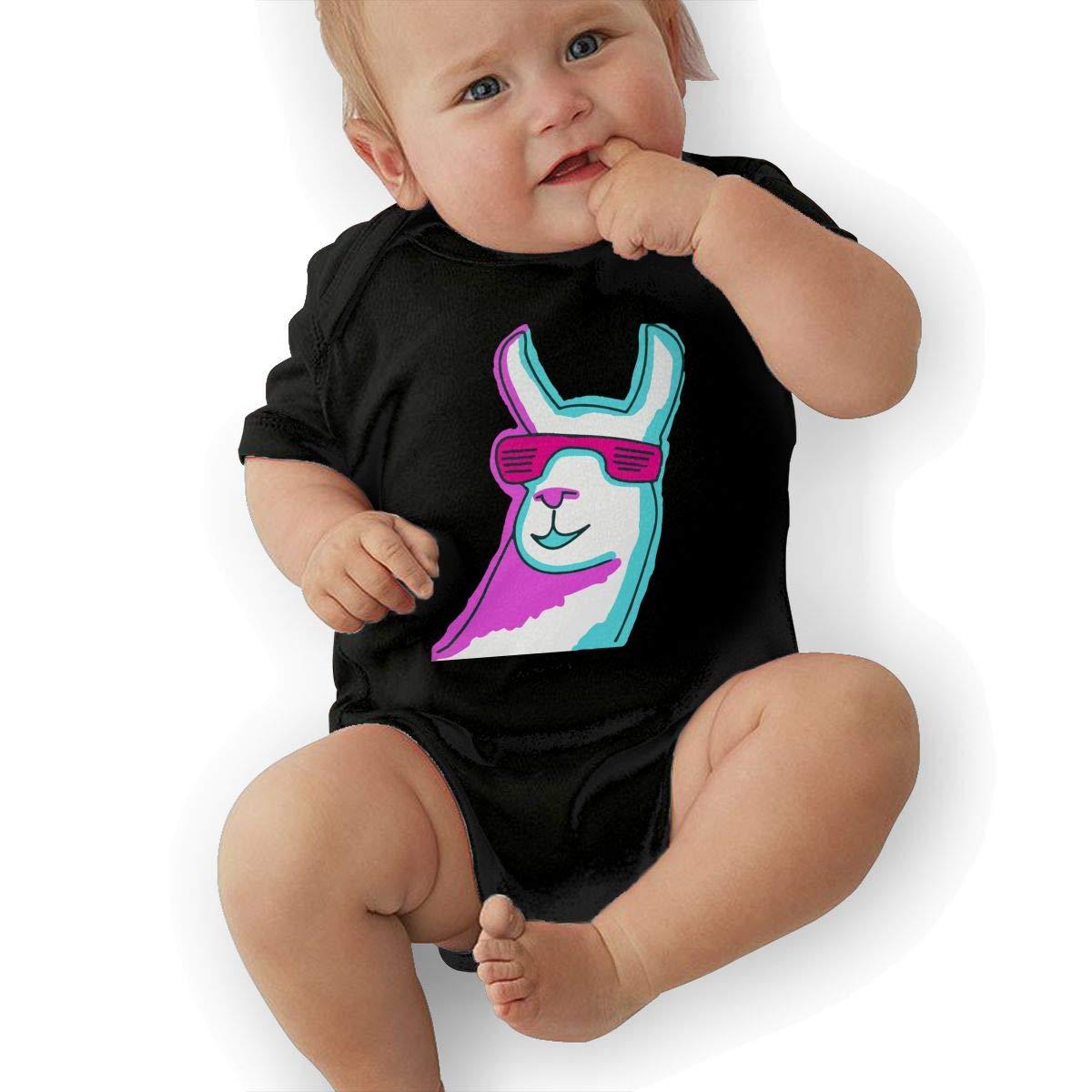 Cool Llama with Sunglass Retro Newborn Baby Short Sleeve Bodysuit Romper Infant Summer Clothing