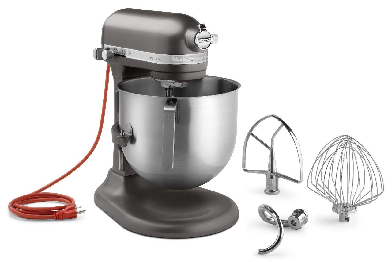 KitchenAid KSM8990DP 8-Quart Commercial Countertop Mixer, 10-Speed, Gear-Driven, Dark Pewter (Renewed) by KitchenAid