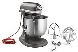 KitchenAid KSM8990DP 8-Quart Commercial Countertop Mixer, 10-Speed, Gear-Driven, Dark Pewter (Renewed)