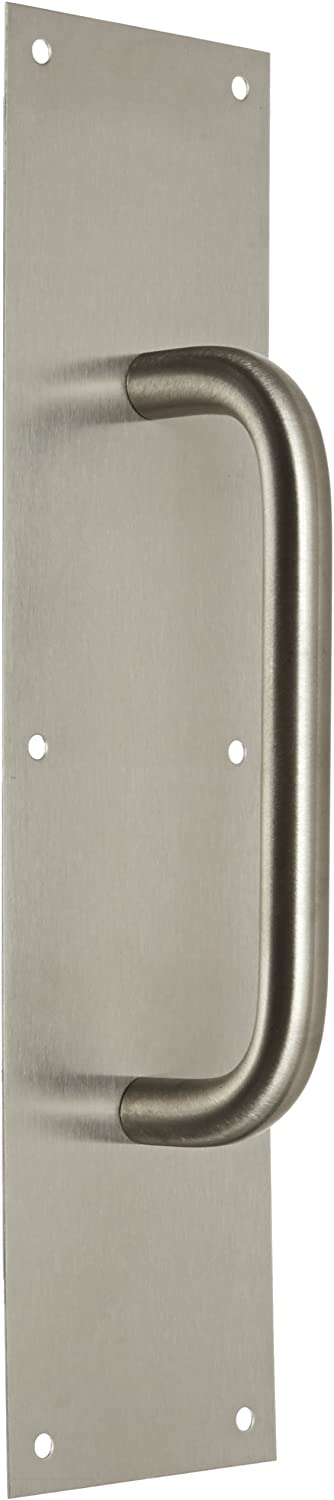 16 Height x 4 Width x 0.050 Thick Rockwood 107 X 70C.32D Stainless Steel Pull Plate 8 Center-to-Center Handle Length 5 3//4 Pull Diameter Satin Finish