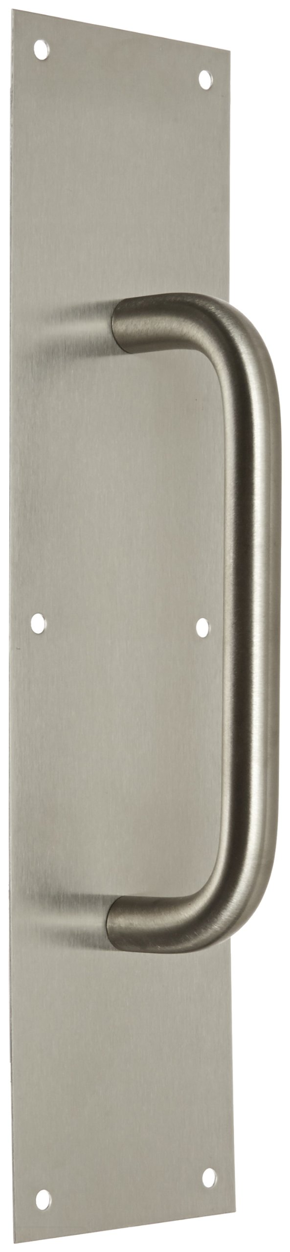 Rockwood 107 X 70C.32D Stainless Steel Pull Plate, 16'' Height x 4'' Width x 0.050'' Thick, 8'' Center-to-Center Handle Length, 3/4'' Pull Diameter, Satin Finish