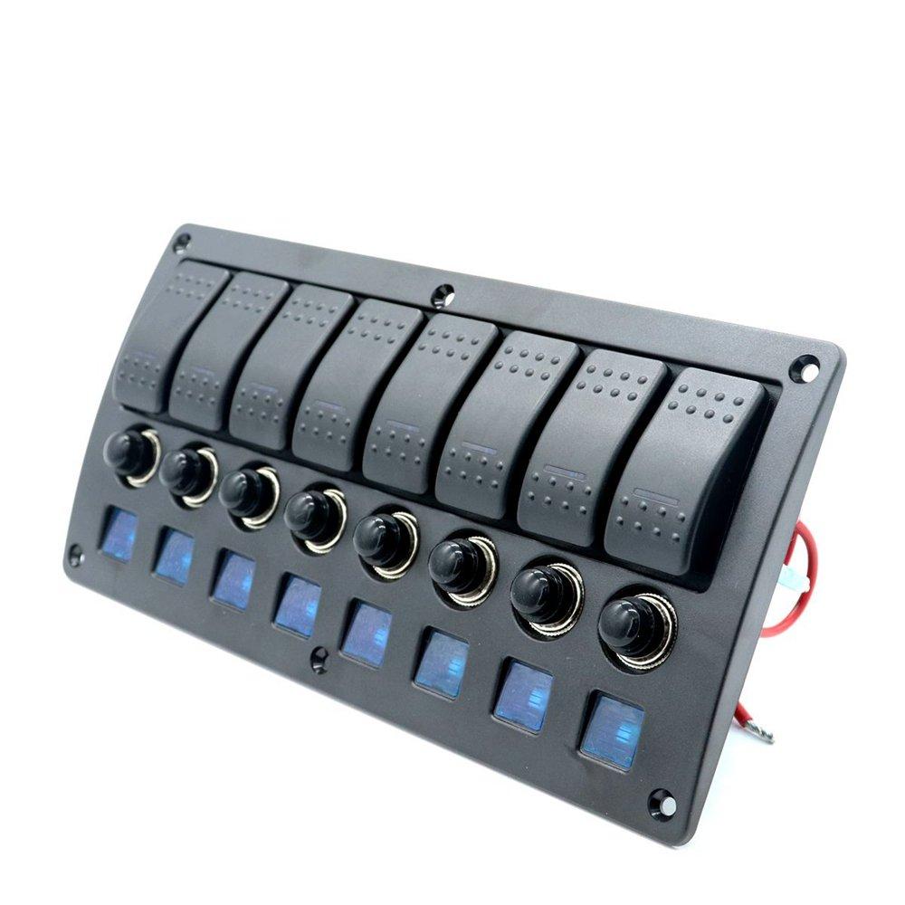 12V 24V 8Gang Rocker Switch Panel Marine Boat RV Yacht Ship Automotive Toggle Switches ON-OFF Blue LED Lights
