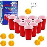 DR.DUDU Beverage Pong Cups and Balls Set, Giant Beverage Pong Game Set with 24 Cups 24 Pong Balls, 16oz