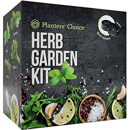 Planters#039 Choice Organic Herb Growing Kit  Herb Grinder  Complete Kit to Easily Grow 4 Herbs from Seed Basil Cilantro Chives amp Parsley with Comprehensive Guide  Unique Gift Herbs