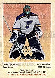 Curtis Sanford Hockey Card 2002-03 Parkhurst Retro Fall Expo #241 Curtis Sanford