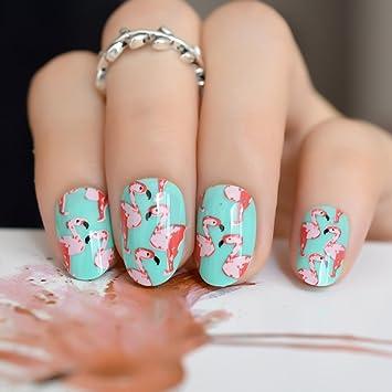 Echiq Kunstliche Fingernagel Mit Flamingo Muster Gruner Fingernagel