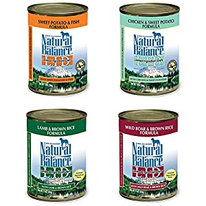 Natural Balance L.I.D. Limited Ingredient Diet Canned Dog Food Variety Pack - Chicken/Sweet Potato, Lamb/Brown Rice, Fish/Sweet Potato, & Boar/Brown Rice (13.2 oz. x 4 cans)