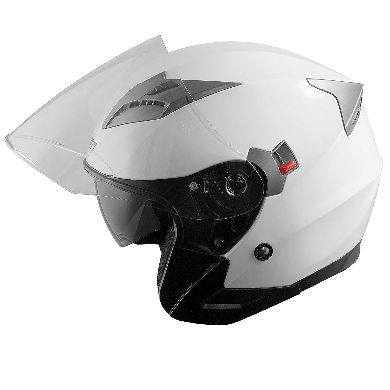 Demi Jet Casque Visi/ère Pare Soleil ECE 22-05 Approuv/é Moto Scooter A-Pro Kinetic Blanc XS