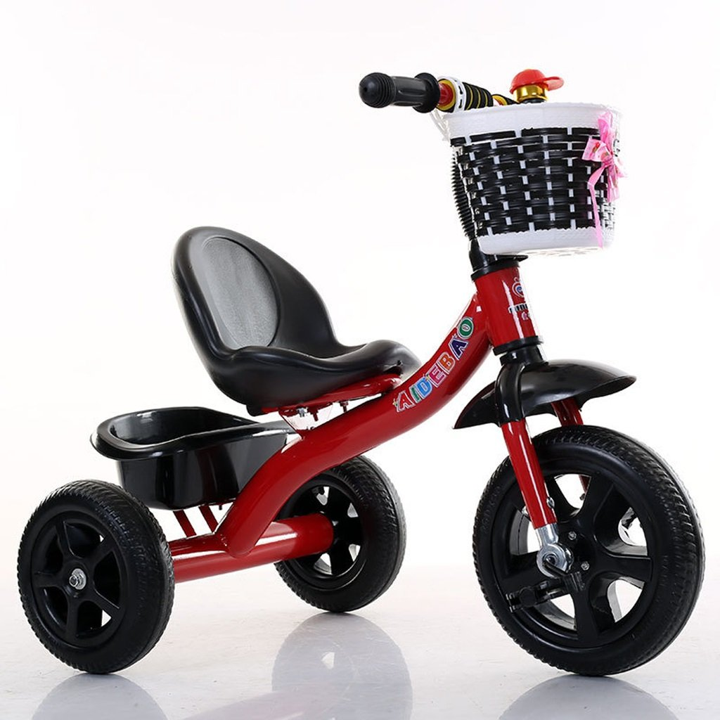 Fenfen子供の三輪車ベビー自転車ベビーCarriage高炭素スチール自転車2 – 8 Years Old Baby Tricycleフィート、ピンク/レッド/グリーン/ブルー/、725068 CM B07CTCGXBTレッド