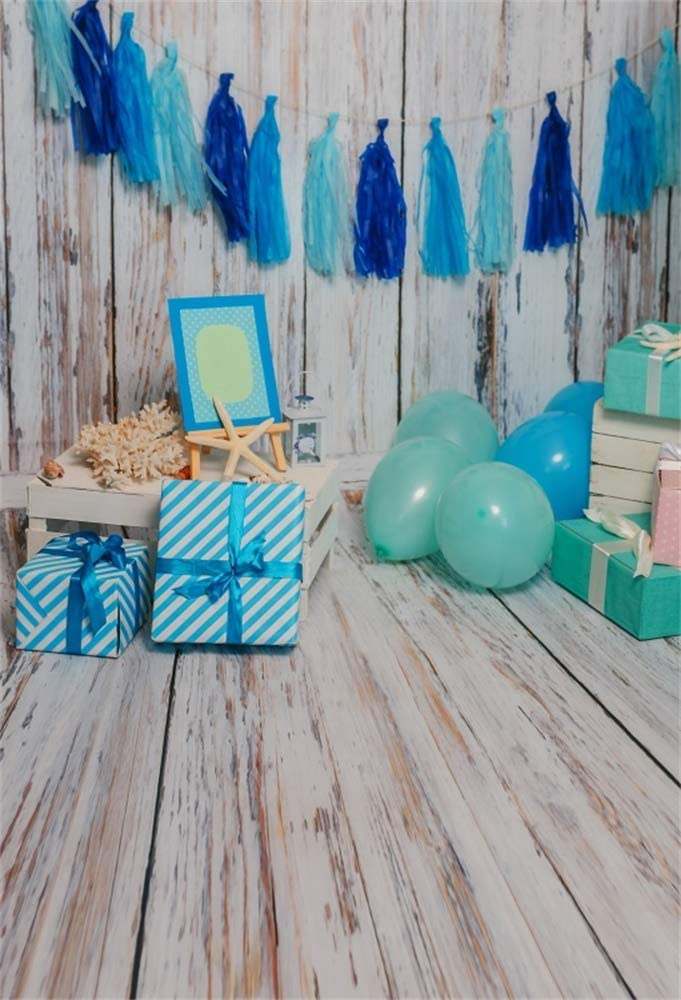 GoEoo 5x5ft Vinyl Photography Backdrop 1st Birthday Interior Decorations Balloons Wood Floor Fireplace Cake Smash Photo Background Children Baby Adults Portraits