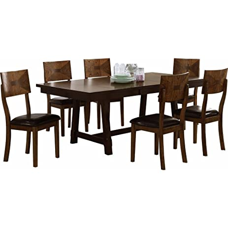 Geronimo Mid Century Modern 7 Piece Dining Table U0026 6 Side Chairs In 5 Tone  Oak