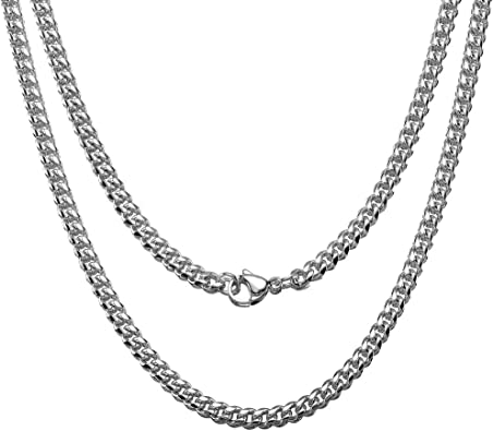Men Women 3mm Stainless Steel Chain Necklaces Cuban Link Curb Chain