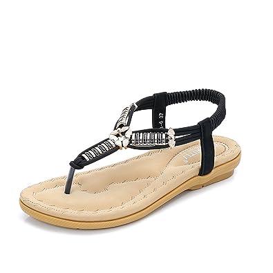 Damen Sandalen Flip Flops Sandale Flach Zehentrenner Böhmischer Stil T-Strap Dft6KnNNn6