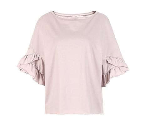 c925fea11 Koyi Camiseta De Color Sólido Para Mujer Top De Encaje Espiral Puños De Algodón  Suelta Cómoda