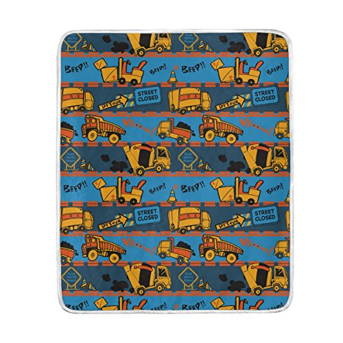 ALAZA Gray and Blue Stripe Construction Truck Plush Throws S
