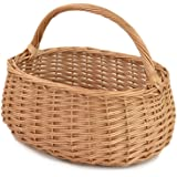 RURALITY Eco-friendly Wicker Basket, Woven Storage Basket with Handle
