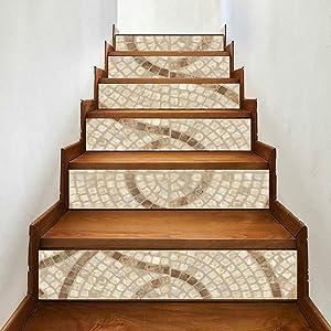 6 Pcs Modern Art Stair Stickers,Brown Marblestone Mosaic Texture High Vinyl Home Decor Decals,DIY Stairs Self Adhesive Decoration Wall Sticker,7x39inch