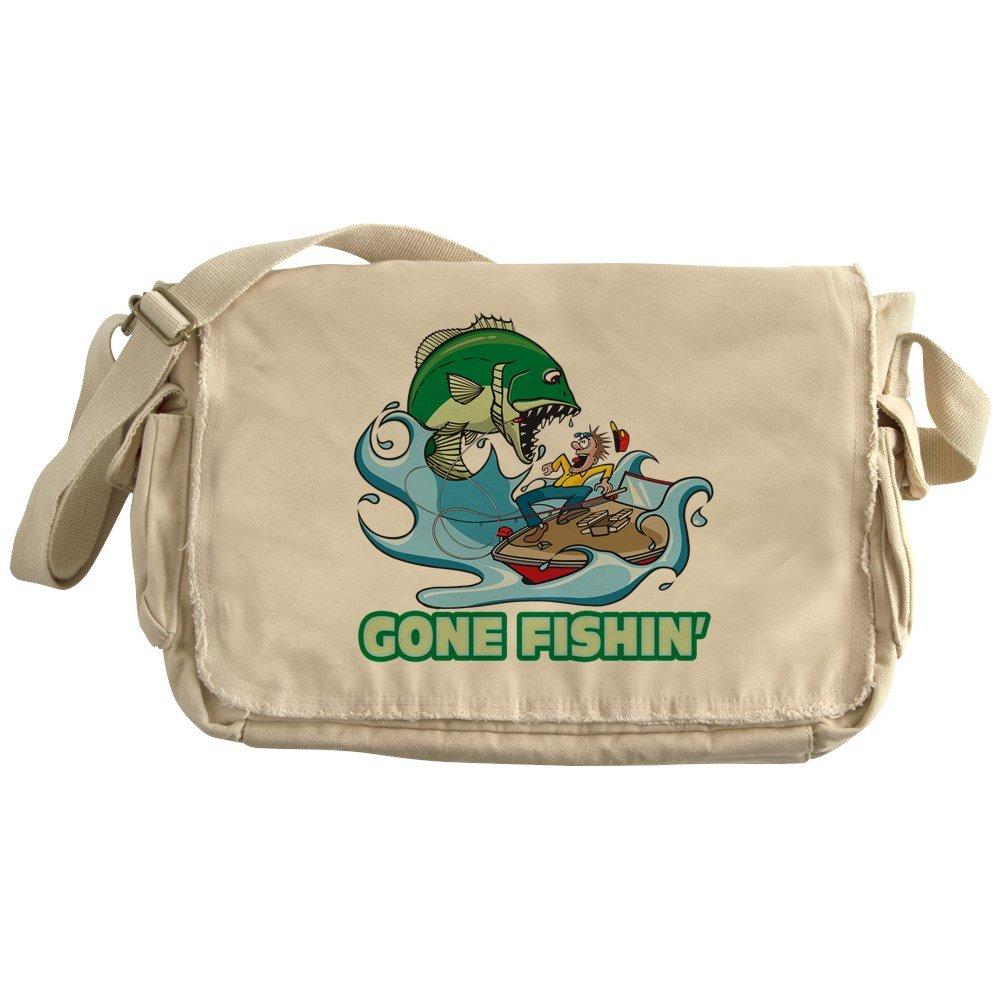Royal Lion Khaki Messenger Bag Gone Fishin Fishing Fisherman