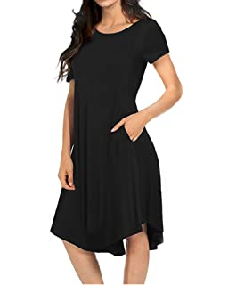 381edfedaa44 WFTBDREAM Casual Loose Crewneck Short Sleeve Swing T-Shirt Dress with Pocket