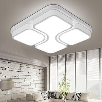ETiME 24W Design LED Deckenlampe Led Deckenleuchte Wohnzimmer Lampe  Schlafzimmer Küche Leuchte 6000K Weiß Quadratform (43x43cm 24W Kaltweiß)