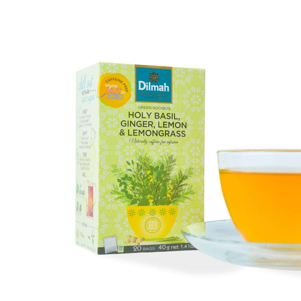 Dilmah Green Rooibos with Holy Basil Ginger Lemon & Lemongrass Tea - 20 Tea Bags X 8 Pack - Naturally Caffeine Free by Dilmah