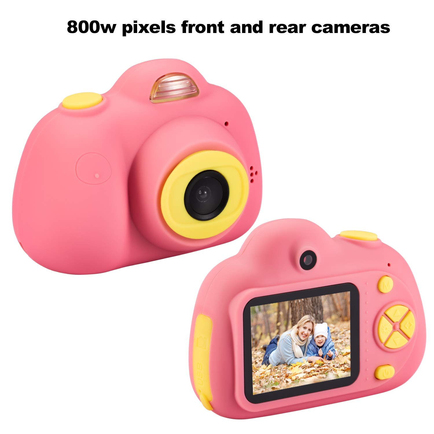 omzer Gift Kids Camera Toys for Girls, Cute Children Cameras Mini Camcorder for 3-8 Years Old Girl with 8MP HD Video Lens Great for Shooting, Deep Pink(16GB Memory Card Included) by omzer (Image #2)