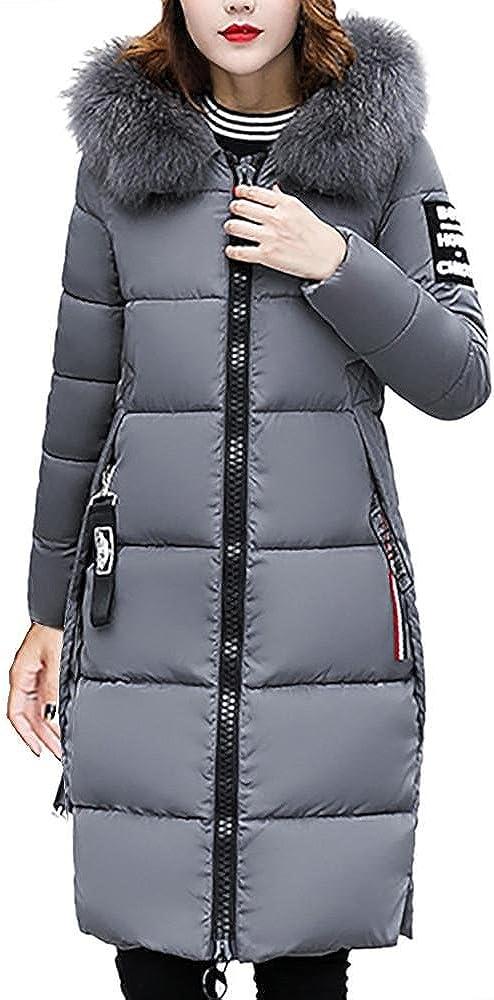 Invierno Abrigos Largo de Mujer Plumas FELZ Moda Slim Fit Acolchado Chaqueta Largo con Capucha para Mujer C/álida Chaqueta Plumas Mujer Tallas Grandes Outwear M-4XL
