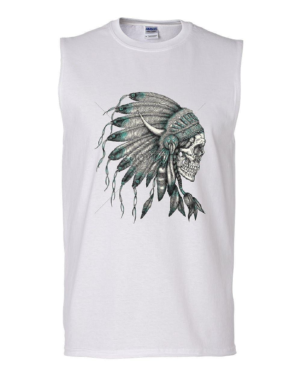 Indian Headdress Skull Muscle Shirt Native American Tribe